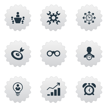 Ilustración de Illustration Set Of Simple Strategy Icons. Elements Increase, Director, Zoom Glasses And Other Synonyms Success, Find And Scope. - Imagen libre de derechos