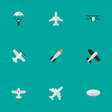 Illustration pour Illustration Set Of Simple Plane Icons. Elements Balloons, Catapults, Craft And Other Synonyms Rocket, Vehicle And Flying. - image libre de droit