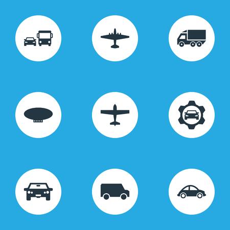 Illustration pour Elements Automotive, Van, Airliner And Other Synonyms Blimp, Public And Car.  Vector Illustration Set Of Simple Shipment Icons.  - image libre de droit