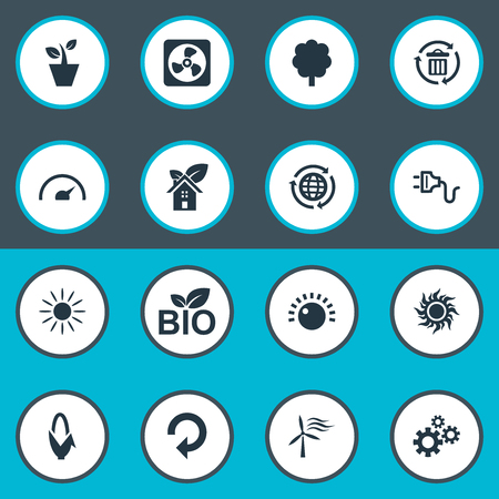 Illustration pour Elements Solar Energy, Tachometr, Houseplant And Other Synonyms Reuse, Sunlight And Recycle.  Vector Illustration Set Of Simple Energy Icons. - image libre de droit