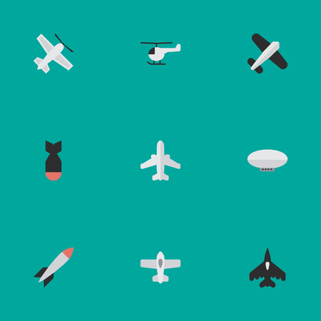 Illustration pour Elements Airliner, Craft, Aviation And Other Synonyms Copter, Flying And Rocket.  Vector Illustration Set Of Simple Plane Icons. - image libre de droit