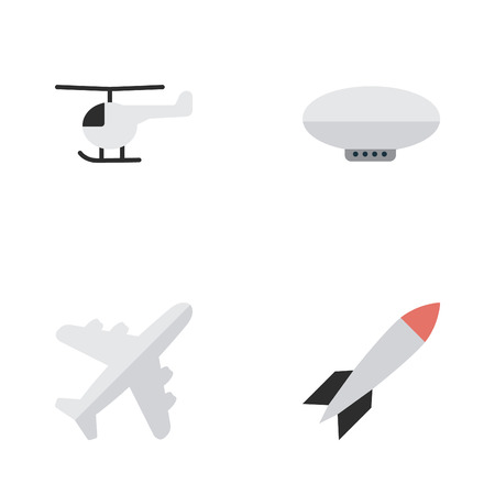 Illustration pour Elements Aircraft, Bomb, Copter And Other Synonyms Chopper, Helicopter And Copter.  Vector Illustration Set Of Simple Airplane Icons. - image libre de droit