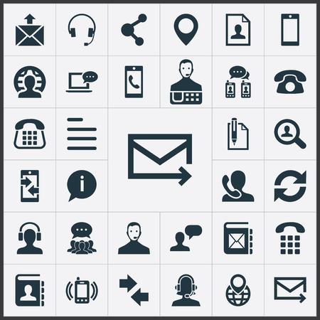 Illustration pour Set Of Simple Contact Icons. - image libre de droit