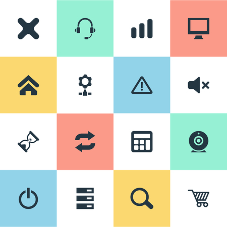Illustration pour Set Of Simple Computer Icons. Elements Data Center, Switch Button, Reload And Other Synonyms Screen, Station And Gear. - image libre de droit