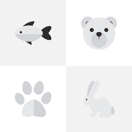 Ilustración de VSet Of Simple Zoo Icons. Elements Foot , Hare, Panda Synonyms Seafood, Bear And Perch. - Imagen libre de derechos