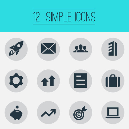 Photo pour Set Of Simple Teamwork Icons. Elements Surge, Gear, Envelope And Other Synonyms Office, Graph And Surge. - image libre de droit