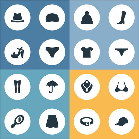 Illustration for Set Of Simple Clothes Icons. - Royalty Free Image