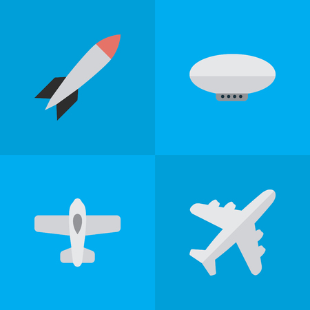 Illustration pour Vector Illustration Set Of Simple Aircraft Icons. Elements Balloons, Plane, Aircraft And Other Synonyms Airship, Airplane And Craft. - image libre de droit