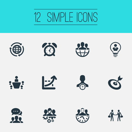 Illustration for Vector Illustration Set Of Simple Plan Icons. Elements Watch, Cooperation, Global Trade And Other Synonyms Earth, Network And Globe. - Royalty Free Image