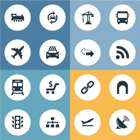 Illustration pour Vector Illustration Set Of Simple City Icons. Elements Construction Crane, Auto Service, Retro Locomotive And Other Synonyms Rail, Locomotive And Opposite. - image libre de droit