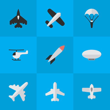 Illustration pour Vector Illustration Set Of Simple Plane Icons. Elements Bomb, Flying Vehicle, Airliner And Other Synonyms Chopper, Dynamite And Flying. - image libre de droit