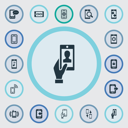 Illustration pour Vector Illustration Set Of Simple Telephone Icons. Elements Outgoing Calls, Touchscreen, Tune And Other Synonyms Touchscreen, Transfer And Shutter. - image libre de droit