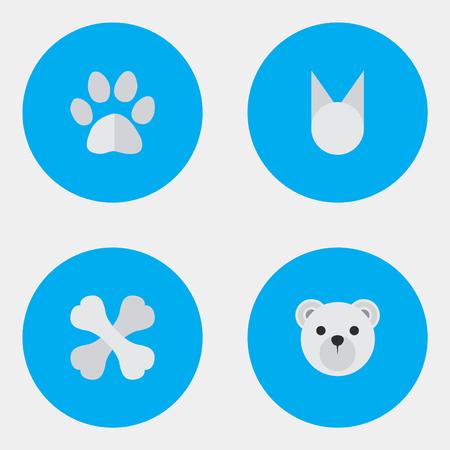 Ilustración de Vector Illustration Set Of Simple Zoo Icons. Elements Panda , Foot , Skeleton Synonyms Paw, Animal And Skeleton. - Imagen libre de derechos