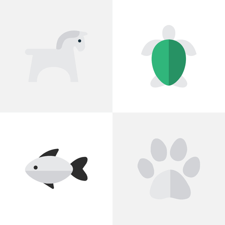 Ilustración de Vector Illustration Set Of Simple Animals Icons. Elements Foot, Perch, Steed And Other Synonyms Fish, Tortoise And Steed. - Imagen libre de derechos