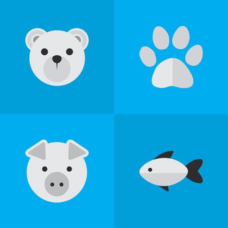 Ilustración de Vector Illustration Set Of Simple Zoo Icons. Elements Foot , Piggy , Panda Synonyms Foot, Perch And Paw. - Imagen libre de derechos