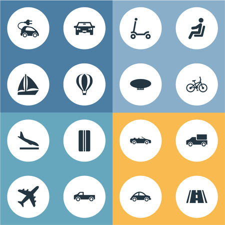 Illustration pour Vector Illustration Set Of Simple Transportation Icons. Elements Sky Travel, Road, Blimp And Other Synonyms Road, Aircraft And Traveler. - image libre de droit