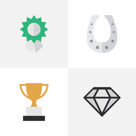 Illustration for Vector Illustration Set Of Simple Reward Icons. Elements Diamond, Reward, Metal And Other Synonyms Shoe, Trophy And Metal. - Royalty Free Image