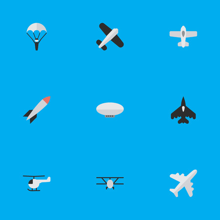 Illustration pour Vector Illustration Set Of Simple Aircraft Icons. Elements Flying Vehicle, Catapults, Balloons And Other Synonyms Parachute, Vehicle And Plane. - image libre de droit