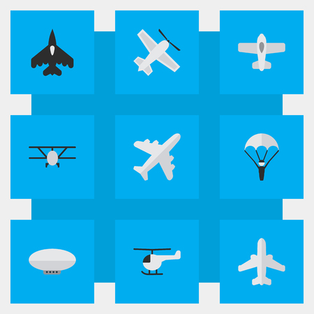 Illustration pour Vector Illustration Set Of Simple Aircraft Icons. Elements Flying Vehicle, Craft, Copter And Other Synonyms Helicopter, Craft And Aviation. - image libre de droit