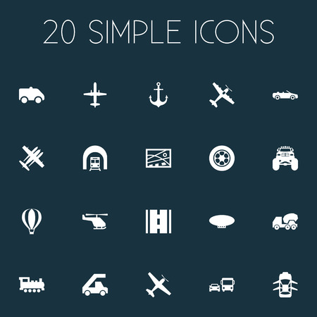 Illustration pour Vector Illustration Set Of Simple Shipment Icons. Elements Steam Train, Jet, Cement Machine And Other Synonyms Tuning, Aicraft And Transport. - image libre de droit