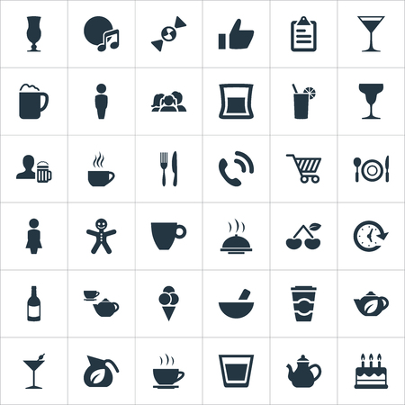 Illustration for Vector Illustration Set Of Simple Cafe Icons. Elements Alcohol Serving, Margarita, Fork With Knife And Other Synonyms Teapot, Gingerbread And Call. - Royalty Free Image