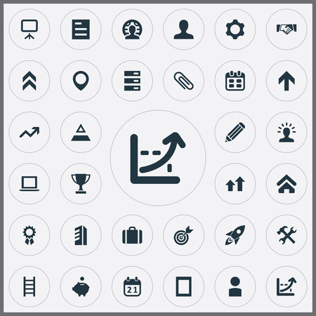 Ilustración de Vector Illustration Set Of Simple Teamwork Icons. Elements Database, Point, Member And Other Synonyms Upward, Laptop And Client. - Imagen libre de derechos