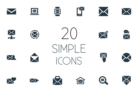 Ilustración de Vector Illustration Set Of Simple Message Icons. Elements Letter, Inbox, Specter And Other Synonyms Communication, Valentine And Open. - Imagen libre de derechos