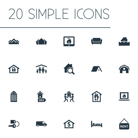 Illustration pour Vector Illustration Set Of Simple Real Icons. Elements Lease Information, Glass Tower, Search And Other Synonyms Stock, Shipping And Capital. - image libre de droit