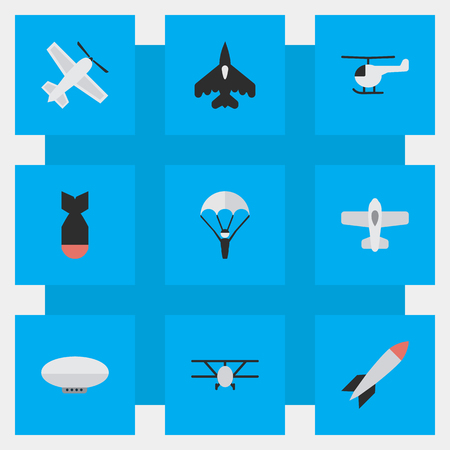 Illustration pour Vector Illustration Set Of Simple Airplane Icons. Elements Airplane, Craft, Bomb And Other Synonyms Copter, Chopper And Airship. - image libre de droit