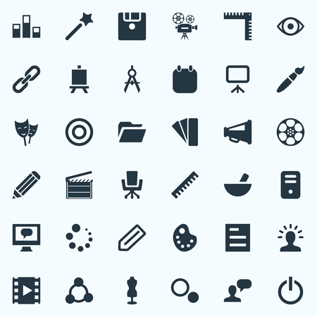 Illustration pour Elements Notebook, Pen, Round And Other Synonyms Ruler, Variety And Designer.  Vector Illustration Set Of Simple Design Icons. - image libre de droit