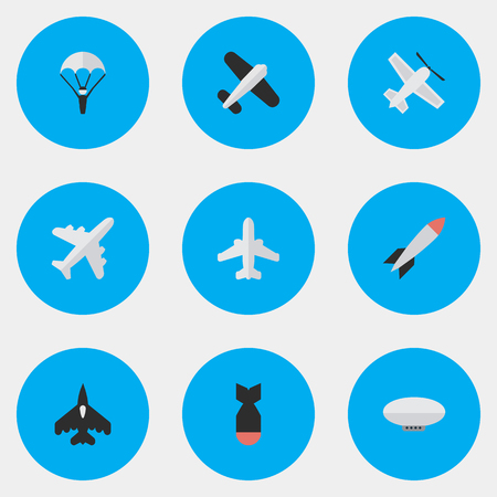 Illustration pour Vector Illustration Set Of Simple Aircraft Icons. Elements Rocket, Craft, Bomb And Other Synonyms Dynamite, Aircraft And Rocket. - image libre de droit