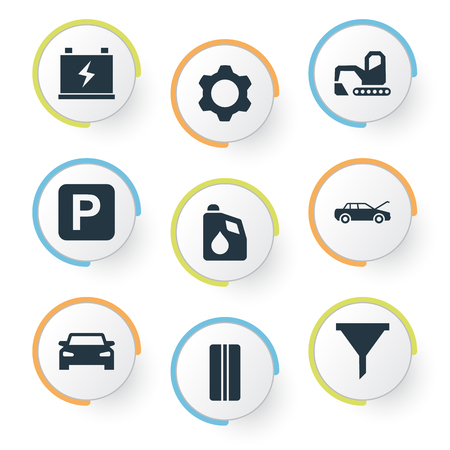Illustration pour Vector Illustration Set Of Simple Vehicle Icons. Elements Cogwheel, Filter, Car And Other Synonyms Cogwheel, Auto And Repair. - image libre de droit