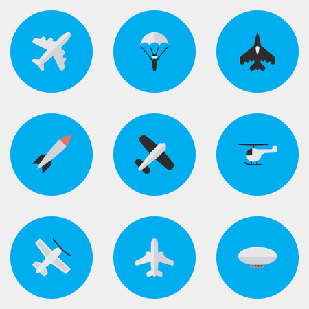Illustration pour Vector Illustration Set Of Simple Aircraft Icons. Elements Aircraft, Bomb, Flying Vehicle And Other Synonyms Craft, Man And Copter. - image libre de droit