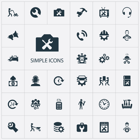 Illustration pour Vector Illustration Set Of Simple Help Icons. Elements Pos Terminal, On Duty, Mechanism And Other Synonyms Workshop, Clock And Operator. - image libre de droit