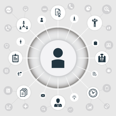 Ilustración de Vector Illustration Set Of Simple Hr Icons. Elements Letter, Record, Identification Card And Other Synonyms Employer, Identification And Man. - Imagen libre de derechos