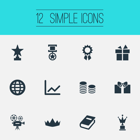 Illustration for Vector Illustration Set Of Simple Reward Icons. Elements Currency, Statistic, Victory And Other Synonyms Diagram, Camera And Reward. - Royalty Free Image