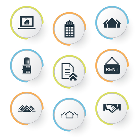 Illustration pour Vector Illustration Set Of Simple Property Icons. Elements Partnership, 3 Housings, Lease Information And Other Synonyms Board, Lease And Residential. - image libre de droit