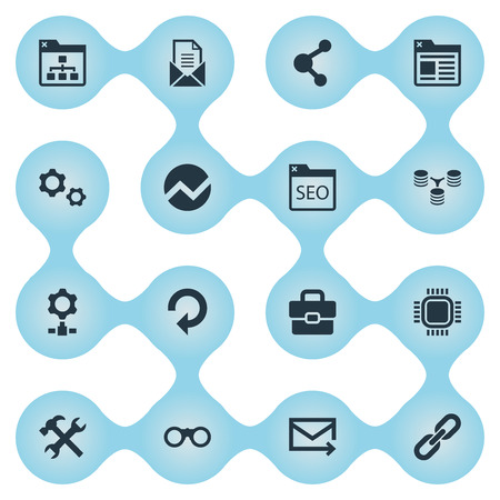 Photo for Vector Illustration Set Of Simple SEO Icons. Elements Letter, Tab, Database Distribution And Other Synonyms Bookmark, Optimization And SEO. - Royalty Free Image
