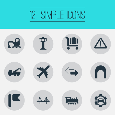 Illustration pour Vector Illustration Set Of Simple Infrastructure Icons. Elements Retro Locomotive, Golden Gate, Aviation And Other Synonyms Locomotive, Rail And Aviation. - image libre de droit