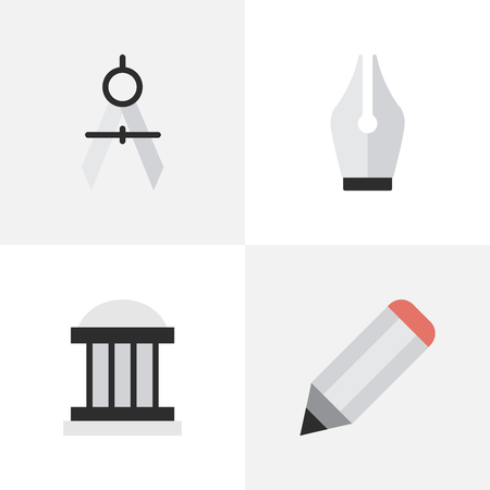 Illustration pour Vector Illustration Set Of Simple Education Icons. Elements Measurement Dividers, Nib, Pen And Other Synonyms Drawing, Ink And University. - image libre de droit