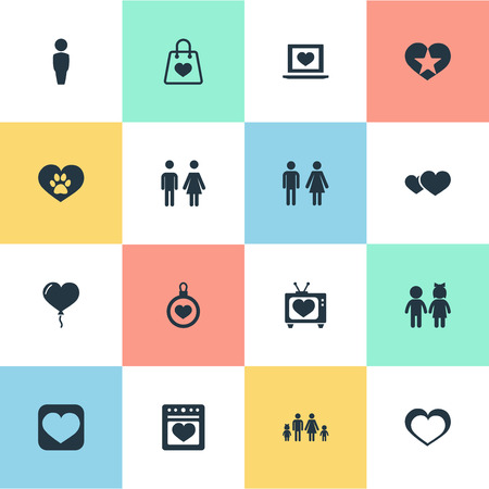 Ilustración de Vector Illustration Set Of Simple Valentine Icons. Elements Pair, Favorite, Stove And Other Synonyms Sign, Couple And Care. - Imagen libre de derechos