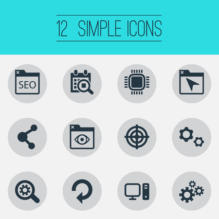 Photo for Vector Illustration Set Of Simple SEO Icons. Elements Share, Sniper, Motherboard And Other Synonyms Repeat, Tab And Loupe. - Royalty Free Image