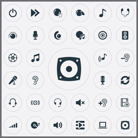 Photo for Vector Illustration Set Of Simple Play Icons. Elements Earmuff, Speaker, Music And Other Synonyms Bass, Laptop And Microphone. - Royalty Free Image