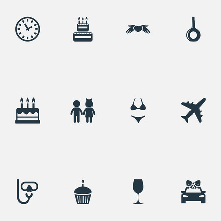 Ilustración de Vector Illustration Set Of Simple Festal Icons. Elements Airplane, Pastry, Love Protection And Other Synonyms Fly, Dessert And Bikini. - Imagen libre de derechos