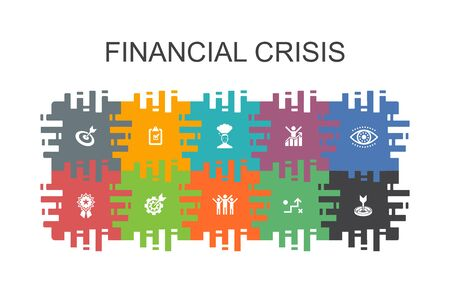 Illustrazione per financial crisis cartoon template with flat elements. Contains such icons as budget deficit, Bad loans, Government debt, Refinancing - Immagini Royalty Free
