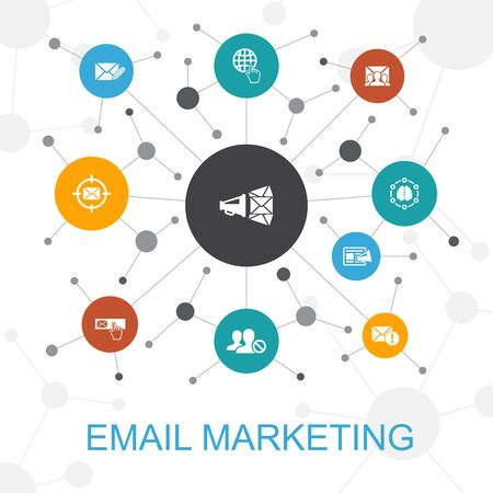 Illustration pour Email Marketing trendy web concept with icons. Contains such icons as subscribe, compose mail, Blacklist, internet - image libre de droit