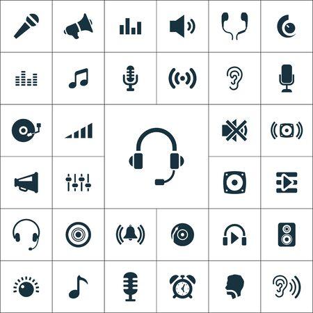 Illustration pour audio icons universal set for web and mobile - image libre de droit