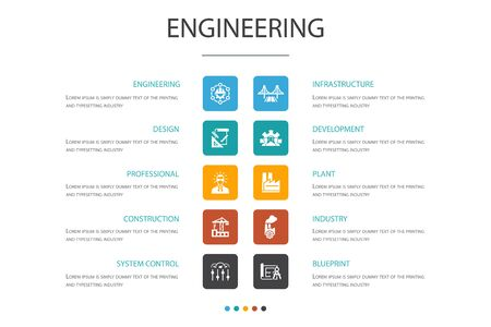 Illustration pour engineering Infographic 10 option template.design, professional, System Control, Infrastructure simple icons - image libre de droit