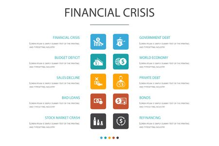 Illustrazione per financial crisis Infographic 10 option template.budget deficit, Bad loans, Government debt, Refinancing icons - Immagini Royalty Free