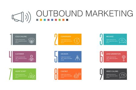 Ilustración de outbound marketing Infographic 10 option line concept. Conversion, Customer, Lead Generation, Cold Calling icons - Imagen libre de derechos